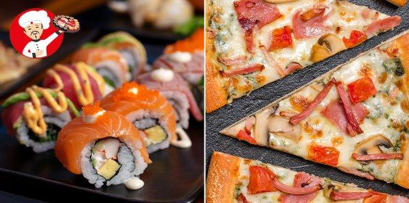 До -65% на роллы, пироги, суши и пиццу