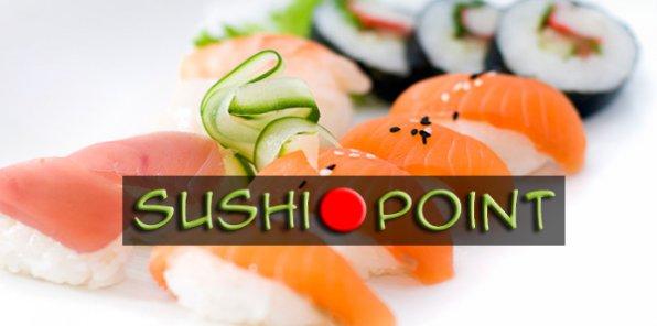 Скидка 50% на все меню и напитки от службы доставки Sushi Point + приятные подарки!