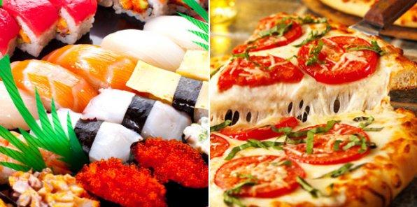 Вкусно покушать? Без проблем! Самая ароматная пицца и свежие суши с доставкой на дом! За полцены! От 700 р. за заказ!