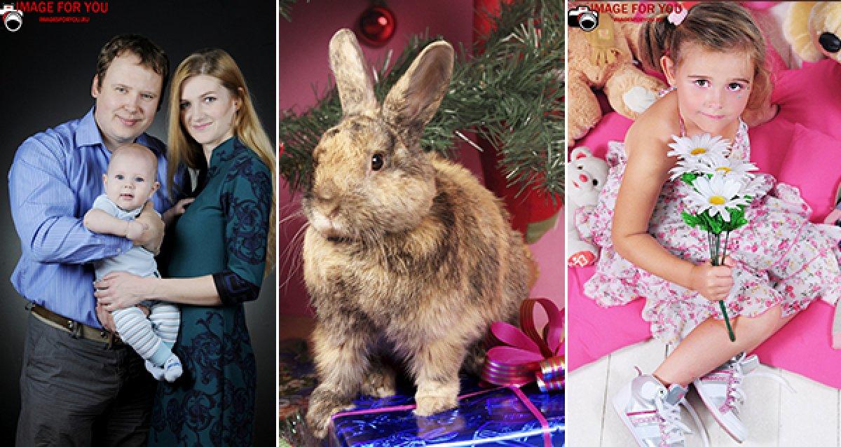 Новогодняя, детская, семейная, «в ожидании» или другая фотосессия с макияжем и прической за 450 р. Кирпичная стена, кролик и море позитива!