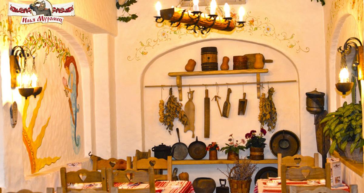 интерьер ресторана «Илья Муромец» на Ленинском проспекте